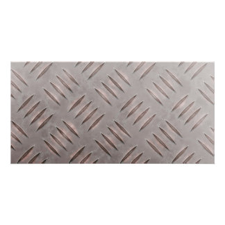 Steel Diamond Plate Texture Personalized Photo Card
