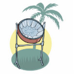 steel drum and palm tree design photo sculpture decoration