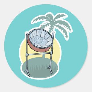 steel drum and palm tree design round sticker