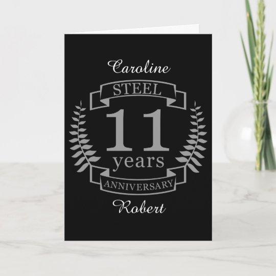 Steel 11th Year Wedding Anniversary Gift Card
