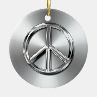 Steel Gradient Graphic Peace Symbol Round Ceramic Decoration