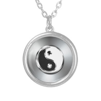 Steel Gradient Graphic Yin-Yang Symbol Silver Plated Necklace