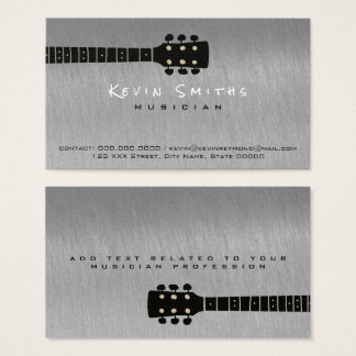 steel gray cool musician's contact business card