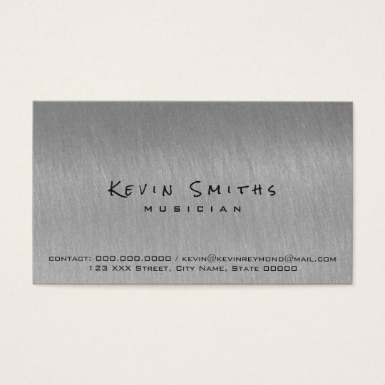 steel grey cool and modern musician business card