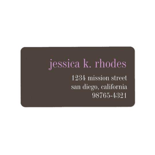 Steel grey lilac typography modern return address address label