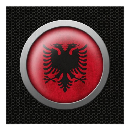 Steel Mesh Albanian Flag Disc Graphic Personalized Invitation