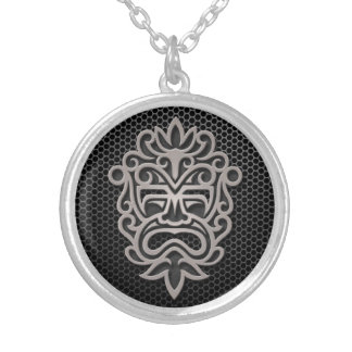Steel Mesh Aztec Mask Necklace
