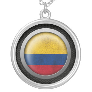 Steel Mesh Colombian Flag Disc Graphic Custom Necklace