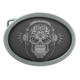 Steel Mesh DJ Sugar Skull Belt Buckles