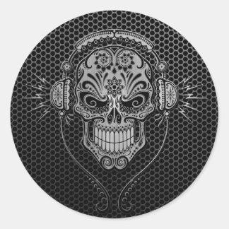 Steel Mesh DJ Sugar Skull Classic Round Sticker