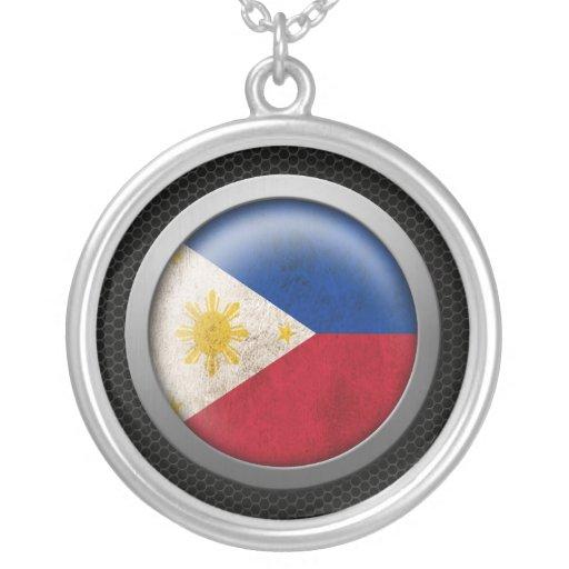 Steel Mesh Filipino Flag Disc Graphic Custom Jewelry
