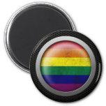 Steel Mesh Gay Pride Rainbow Flag Disc Graphic Fridge Magnets