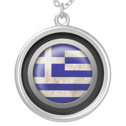 Steel Mesh Greek Flag Disc Graphic Necklaces