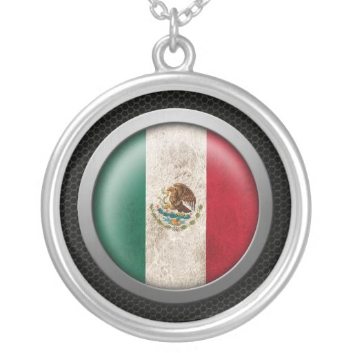 Steel Mesh Mexican Flag Disc Graphic Jewelry