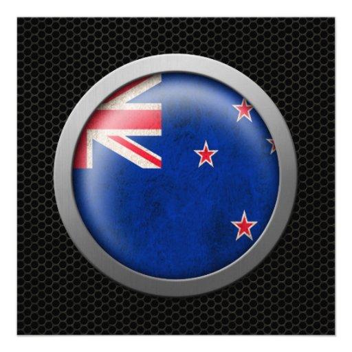 Steel Mesh New Zealand Flag Disc Graphic Custom Invitation