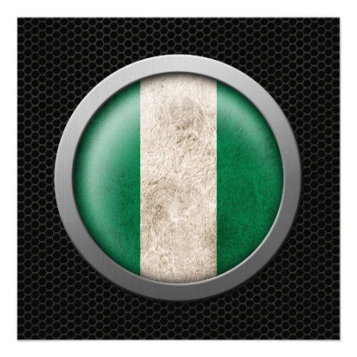 Steel Mesh Nigerian Flag Disc Graphic Personalized Invitation
