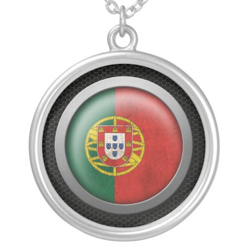 Steel Mesh Portuguese Flag Disc Graphic Jewelry