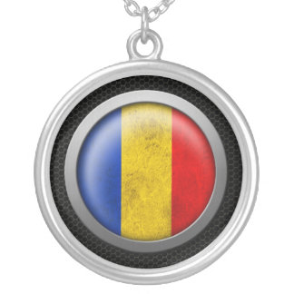 Steel Mesh Romanian Flag Disc Graphic Necklaces