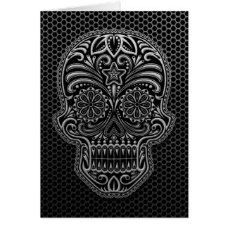 Steel Mesh Sugar Skull Greeting Card