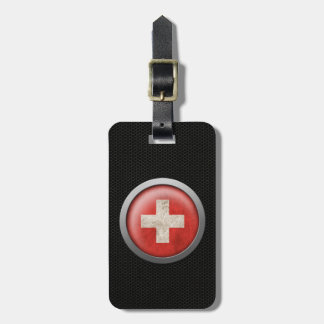 Steel Mesh Swiss Flag Disc Graphic Luggage Tag