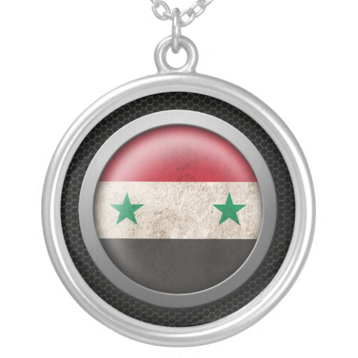 Steel Mesh Syrian Flag Disc Graphic Jewelry