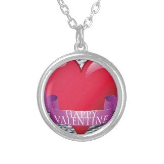 Steel Mesh Valentine Round Pendant Necklace
