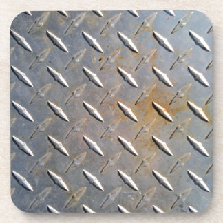 Steel metal diamond pattern grey and rusty coaster