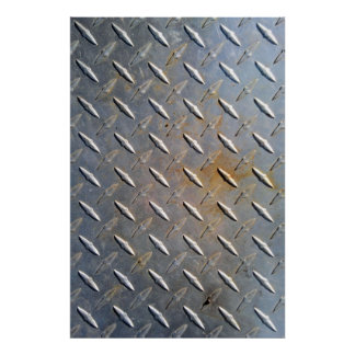 Steel metal diamond pattern grey and rusty poster