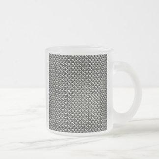 Steel Metal Mesh Pattern (faux) 10 Oz Frosted Glass Coffee Mug