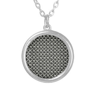 Steel Metal Mesh Pattern (faux) Round Pendant Necklace