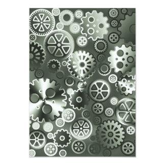 Steel metallic gears 13 cm x 18 cm invitation card