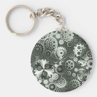 Steel metallic gears key ring