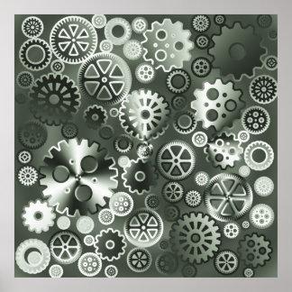Steel metallic gears poster