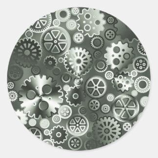 Steel metallic gears round sticker