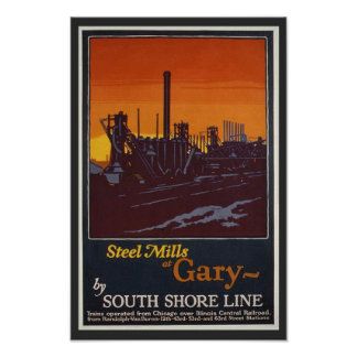 Steel Mills of Gary Indiana Vintage Travel Poster