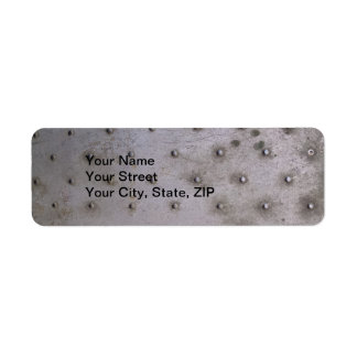 Steel sheet metal with rivets that is dirty return address label