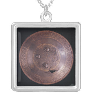 Steel shield with intricate gold decoration silver plated necklace
