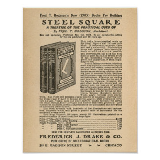 Steel Square Book Vintage Advertisement Ad Art Old Poster