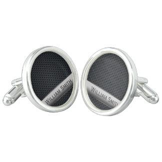 Steel striped dark metal cufflinks