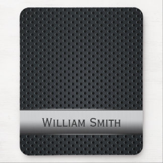 Steel striped dark metal mouse mat