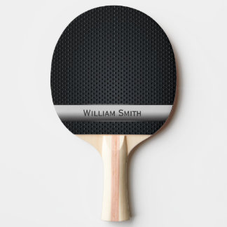 Steel striped dark metal ping pong paddle