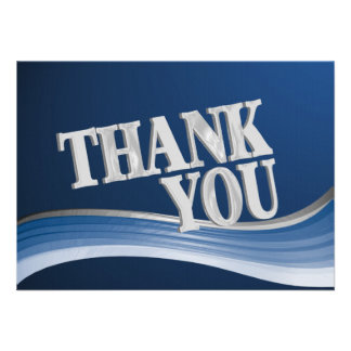 Steel Wave Thank You Flat Note Announcements