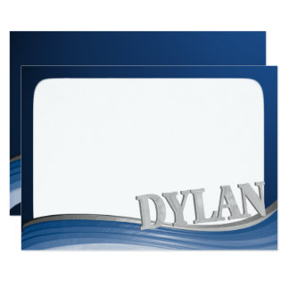 Steel Wave with Name Dylan Flat Note Card