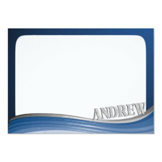 Steel Wave with Name Flat Note 11 Cm X 16 Cm Invitation Card