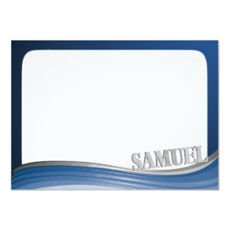 Steel Wave with Name Flat Note Card