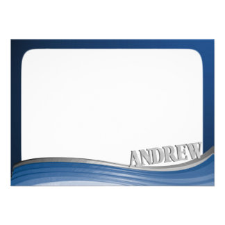 Steel Wave with Name Flat Note Custom Invitation