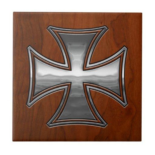 Steel Wood Maltese Ceramic Tile