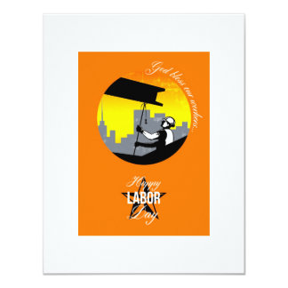 Steel Worker Happy Labor Day Greeting Card Poster 11 Cm X 14 Cm Invitation Card
