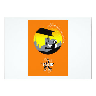 Steel Worker Happy Labor Day Greeting Card Poster 13 Cm X 18 Cm Invitation Card