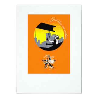 Steel Worker Happy Labor Day Greeting Card Poster 14 Cm X 19 Cm Invitation Card